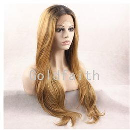 Wholesale Lace Front Kanekalon Wig Blonde - SF2 Cheap Blonde Mix Synthetic Wig Wavy Kanekalon Front Lace Synthetic Hair Natural Wig For Fashion Women