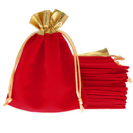 Wholesale Velvet Jewelry Bag Red - Wholesale 25Pcs 12x15cm Red Velvet Gold Trim Drawstring Jewelry Gift Christmas Wedding String Drawstring Bags Pouches party decoration