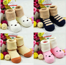 Wholesale Toddler Terry Socks - Baby Kids 100% Cotton Terry Pull Towel Socks 2015 Autumn Winter Cartoon Stripe Thick Socks Children Infant Toddler Socks Fit 0-3T 2 Sizes