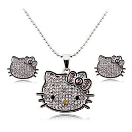 Wholesale Crystal Kitty Cat Earrings - 1 set New 18K Gold Plated Korea Crystal Cute hello kitty Cat Jewelry Sets Earrings   Necklaces Fashion Jewelry for women Y2684