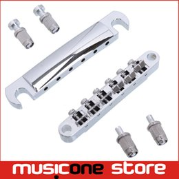 Wholesale O Matic - A Set Chrome String saddle Tune-O-Matic Bridge & Tailpiece For GB LP Style Electric Guitar Free shipping MU0458