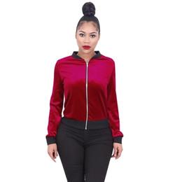 Wholesale Girls Velvet Tracksuits - Wholesale- 3Colours Autumn Winter Women Fashion Velvet Warm Jacket Coat Ladies Casual Slim Fit Jacter Girl Outwear Tracksuit Blouse Dec23