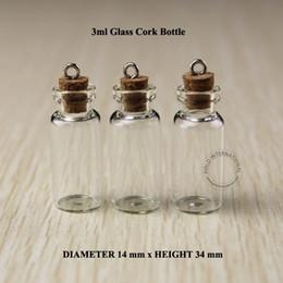 Botellas de corcho decorativas online-2016 50pcs 3 ml pequeñas botellas de vidrio con corcho Mini tapones de corcho tapones decorativos Corked viales deseando botella envío gratis