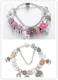 Wholesale Murano Style - 2 colors 925 Silver Field of Daisies Murano Glass&Crystal European Charm Beads Fits European Style Bracelets AA01
