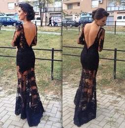 Wholesale Nude See Through Gowns - Sexy See Through Evening Prom Dresses 2015 Long Sleeves Black Lace Evening Party Gowns Scalloped Neckline Backless Mermaid Arabic Dresses