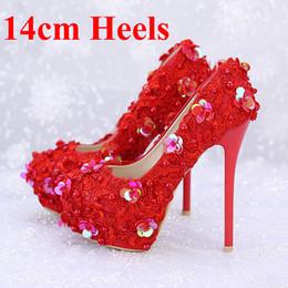 Wholesale Pageant Slips - Red Lace Bridal Dress Shoes Glitter Stiletto Heel 14cm Platforms Lady Formal Dress Shoes Wedding Party Prom Shoes Pageant Pumps