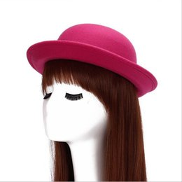 Wholesale Wide Brim Hats For Sale - Fashionable Britpop Felt caps Pure Color Hot Sales christmas gift short Billycock 9 Color for you