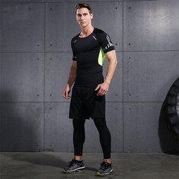 Wholesale Tight Clothes Sets - Men Gym Clothing Fitness Wear Sports Suits Bodybuilding Compression Tights T Shirts and Pants Set Hoodie Running Basketball Sports Jerseys