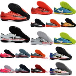 Wholesale Autumn Winter Boots - 2018 mens soccer cleats low mercurial superfly Crampons de football boots cr7 cleats Mercurical Victory VI TF IC indoor soccer shoes cheap