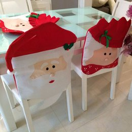 Wholesale Christmas Chair Covers Wholesale - Santa Claus Clause Hat Chair Covers Dinner Chair Cap Sets For Christmas Xmas Decorations Home Party Holiday Festive Red 0024CHR