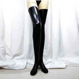 Wholesale Latex Thigh High Socks - Wholesale-Womens Black Spandex Thigh High Latex Socks Glam Rock Gothic Wetlook XL188