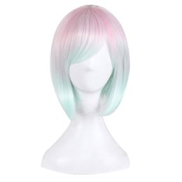 Wholesale Pink Cosplay Wigs Short - Cosplay Wig Short Animation Bob Hair Pink Blue Wigs Side Bang Wig Colorful Women Synthetic Wig