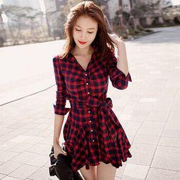 Wholesale Womens Red Plaid Dress - Womens Retro Long Sleeve Dress Red Plaid Lapel V Neck Shirt Dress Belted Dress