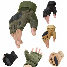 Wholesale Glove Paintball - Sport Outdoor Tactical Army Airsoft Shooting Bicycle Combat Fingerless Paintball Hard Carbon Knuckle Half Finger Cycling Gloves
