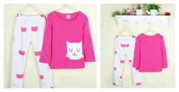 Wholesale Carton Cute Girl - Girls Suits Sweet Suits Girls Suits Kids Sweet Carton Cat Printing and Round Collar Suits Children Lovely Animal Printing Trousers Two S