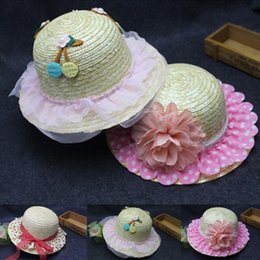 Wholesale Childrens Flower Tops - Lace Flowers Woven straw hat childrens girl kids summer Net Yarn hats Sandy beach wholesale baby hat 3 style