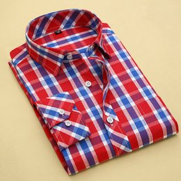 Wholesale Long Sleeve Professional Clothing - Wholesale-2016 New Korean Version Men Professional Plaid Dress Shirts Casual Design Musle Fitted Long Sleeve Male Clothing Size S-4XL