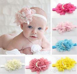 Wholesale Hair Elasticity - Newborn Cute Baby Pearl Rose Flower Hair Band Chiffon Lace Baby Headband Ribbon Elasticity Hair Accessories Headwear