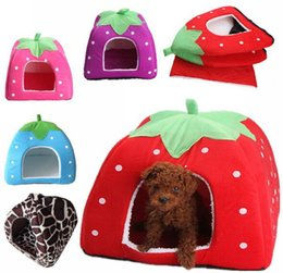 Wholesale House Leggings - Wholesale-New Cute Lovely Soft Super Cool Sponge Strawberry Pet Dog Cat House Bed 1Pc Size S Free Shipping