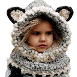 Wholesale Cute Fox Girl - 2015 Korean Winter Warm Neck Wrap Fox Scarf Caps Cute Children Wool Knitted Hats Baby Girls Shawls Hooded Cowl Beanie Caps