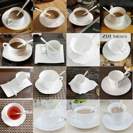 Wholesale China Glaze Sets - Authentic Bone China European Style Inlaid Gold Bone China Coffee Cup Classic Simple Saucer Spoon Coffee Sets For Friend Gift