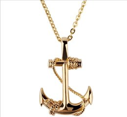 Wholesale Boat Jewelry - Cross-boundary dunhuang hot selling jewelry American and American men's personality boat anchor pendant necklace retro masculine titanium st