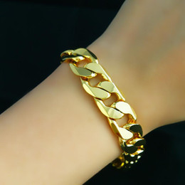 "Wholesale Gold Wide Chain - Fast Free Shipping Fine 24k gold Mens jewelry Length: 21cm (8.66"")Weight : 37g MEN BRACELET DOUBLE CURB CHAIN 12MM WIDE"