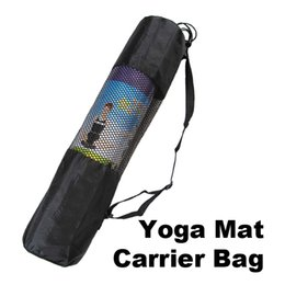 Wholesale Black Mesh Bags - 1 PCS Portable Yoga Pilates Mat Nylon Bag Carrier Mesh Center Adjustable Strap Black PTSP
