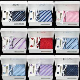 Wholesale Geometric Cufflinks - High Quality Men's 100% Silk 8 cm Necktie and Cufflinks & Tie clip + Hankies with 4pcs  set Gravatas Jacquard Wedding Prom Party