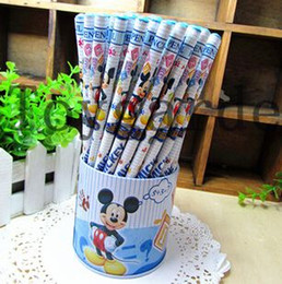Wholesale Wooden Gift Box Set - Free Shipping! Fashion Mickey Mouse Pencil Wooden Pencil Set Stationery Set (72pcs set) on Sale Wholesale