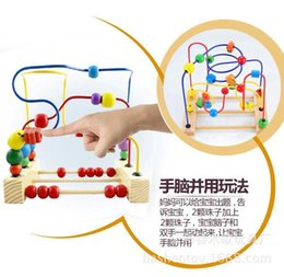 Wholesale Baby Toy Frame - Wholesale-Desk Type Rolling Beads Frame Baby Wooden Rolling Beads Toy Colourful Educational Toy Baby Intellectual Development Maze