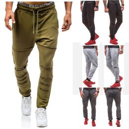 Wholesale Black Fitness Pants - Hole jogger 2017 Men Gyms Pants Casual Elastic cotton Mens Fitness Workout Pants skinny,Sweatpants Trousers Jogger Pants