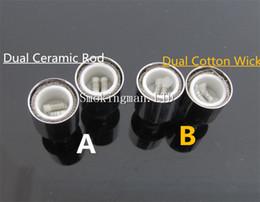 Wholesale Glass Wax Cartomizer - HOT Dual wax coils for cannon vaporizer atomizer vape double coil dual DCT Cax oil Ceramic rod wax Glass metal vase Skull Bowling cartomizer