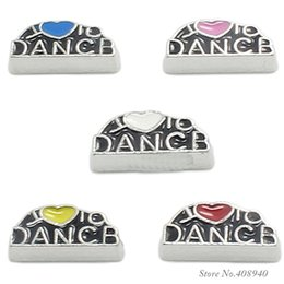 """Wholesale Wholesale I Love Dance Charms - 10pcs lot """"I love to Dance"""" floating charms DIY charms for necklace & bracelets fashion charms accessories glass Locket charms LSFC158*10"""