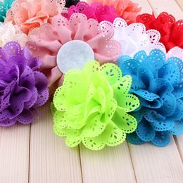 """Wholesale Eyelet Flower Headbands - 120pcs  Lot 4 """"15 Colors Fluffy Eyelet Silk Flowers For Chidlren Hair Accessories Artificial Fabric Flowers For Kids Headbands"""