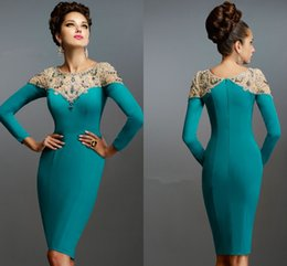 Wholesale Aqua Blue Top - 2016 Janique Long Sleeve Evening Gowns Aqua Blue Jewel Knee-Length Crystal Beaded On Top Cocktail Dresses Party Short Evening Wear