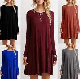Wholesale Xl Mini Skirts - wholesale 10 colors women casual dresses long sleeve plus size brief loose a-line mini full shirt base skirts free shipping