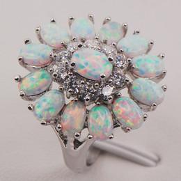 Wholesale White Fire Opal Set - White Fire Opal Australia 925 Sterling Silver Woman Jewelry Ring Size 6 7 8 9 10 11 F577