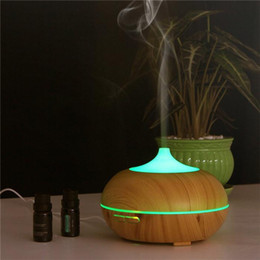 Wholesale Electric Aroma Air Humidifier - 300ml Wood Grain LED Lights Essential Oil Ultrasonic Air Humidifier Electric Aroma Diffuser for Office Home Bedroom Living Room Yoga Spa