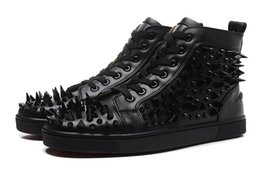 Wholesale Flat Shapes - Luxury Brand Red Bottom Sneakers black Suede with Spikes Casual Mens Womens Shoes Nails with different shapes Trainers Footwear Flat Shoes