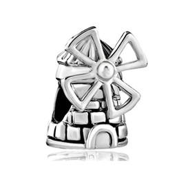 Windmühlenarmband online-Großhandel Großes Loch Dia Bead Reisen Windmühle Lucky European Charm Spacer Metall Bead Fit Pandora Armband