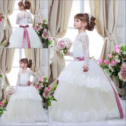 Wholesale Teens Cheap Long Dresses - 2016 Cheap Long Sleeves Flower Girls Dresses For Weddings V-Neck tutu Ritzee Girl Pageant Gowns Size Fuschia Teens Lace Communion Dress Kids
