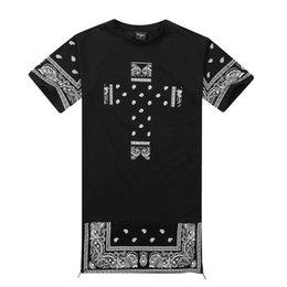 Wholesale Harajuku Dresses - Men harajuku hip hop bandana kany west long t-shirt men side zipper extended t shirt oversized dress tshirt homme swag clothing