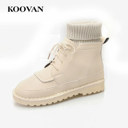 Wholesale Dots Point Socks - Koovan Martin Fashion Women Ankle Boots Sock Shoe Hot Sale 2017 Autumn Winter Flats Heel Plus Plush W578