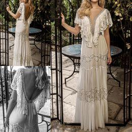 Wholesale Silk Bohemian Black Dress - Sexy Wedding Dress Bohemian Deep V Neck Applique Beads Custom Made Wedding Dresses Bridal Gowns Backless Vestidos De Novia