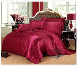 Wholesale Queen Satin Bedspreads - Silk bedding set Wine red california king size queen full twin fitted satin sheets duvet cover bed in a bag bedspread doona 6pcs