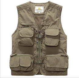 maglia multistrato mens Sconti Autunno-Tattico di caccia Vest Mens Work Vest Multi Pocket Fotografia ad asciugatura rapida Outdoor Gilet di alta qualità verde dell'esercito
