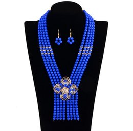 Wholesale Korean Caught - Eye Catching Necklace and Earrings Kits Fashion Korean Style 4 Layers Luxury Necklace Popular in The USA Europe 1 set lot