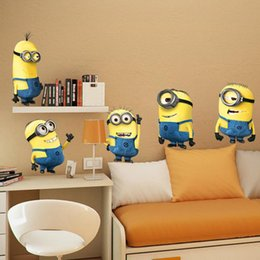 Wholesale Minions Stickers - 2015 Despicable Me Minion Removable 3D Wall Sticker Cartoon Home Decor Kids Lovely Nursery Room Decoration Christmas Gifts Free DHL