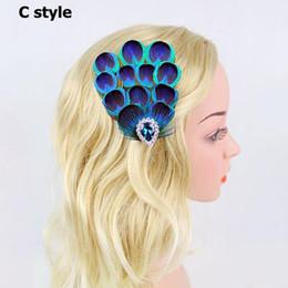 Wholesale Acrylic Hair Claw Clip - Rhinestone Peacock Fashion Wedding Hair Accessories Hair Feather claws Clip hairpin